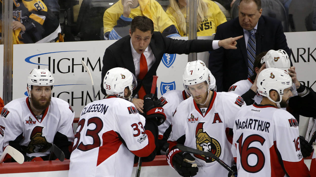 Ottawa-Senators-head-coach-Guy-Boucher-directs-his-team-during-overtime-of-Game-7-of-the-Eastern-Conference-final-against-the-Pittsburgh-Penguins-in-the-NHL-Stanley-Cup-hockey-playoffs-in-Pittsburgh,-Thursday,-May-25,-2017.-(Gene-J.-Puskar/AP)