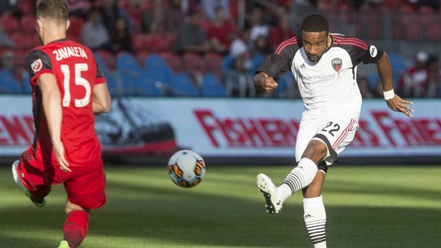 Ottawa-Fury's-Jamar-Dixon-(right)-takes-a-shot-on-goal-as-Toronto-FC-forward-Eriq-Zavaleta-tries-to-block-his-shot-during-first-half-Canadian-Championship-semifinal-second-leg-action-in-Toronto-on-Wednesday,-May-31,-2017.-(Chris-Young/CP)