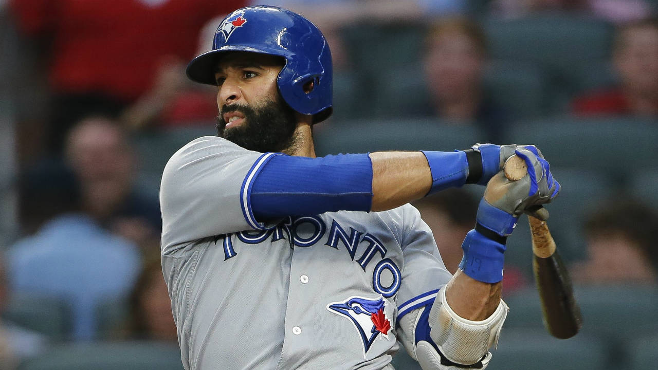 Toronto-Blue-Jays'-Jose-Bautista-follows-through-on-a-double-during-the-third-inning-of-the-team's-baseball-game-against-the-Atlanta-Braves-on-Thursday,-May-18,-2017,-in-Atlanta.-(John-Bazemore/AP)