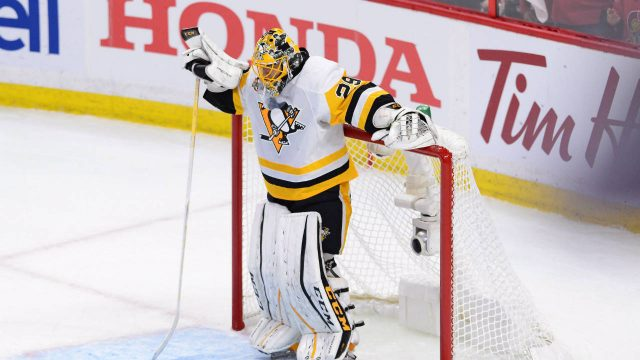 Pittsburgh-Penguins-goalie-Marc-Andre-Fleury-(29)-looks-down-after-being-scored-on-by-the-Ottawa-Senators-during-the-first-period-of-game-three-of-the-Eastern-Conference-final-in-the-NHL-Stanley-Cup-hockey-playoffs-in-Ottawa-on-Wednesday,-May-17,-2017.-The-Pittsburgh-Penguins-aren't-saying-which-of-their-two-goaltenders-will-start-Game-4-of-the-Eastern-Conference-final.-(Sean-Kilpatrick/CP)