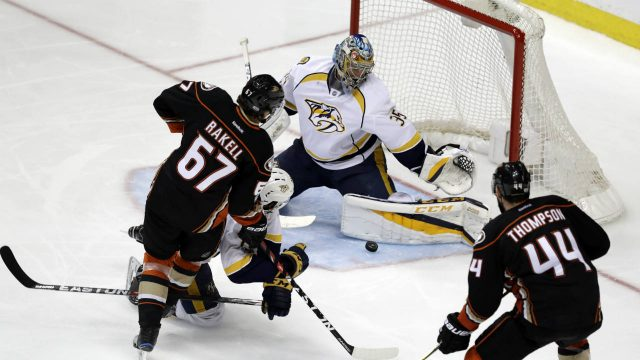 Nashville-Predators-goalie-Pekka-Rinne-(35)-blocks-a-shot-by-Anaheim-Ducks'-Rickard-Rakell-(67)-during-the-third-period-of-Game-2-of-the-Western-Conference-final-in-the-NHL-hockey-Stanley-Cup-playoffs,-Sunday,-May-14,-2017,-in-Anaheim,-Calif.-(Chris-Carlson/AP)