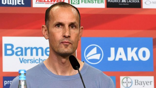 New-Bayer-Leverkusen-coach,,-Heiko-Herrlich,-attends-a-news-conference-in-Leverkusen,-Germany,-Friday,-June-9,-2017.-The-Bundesliga-club-says-the-45-year-old-Herrlich,-has-signed-a-two-year-deal.-[Federico-Gambarini/dpa/AP]