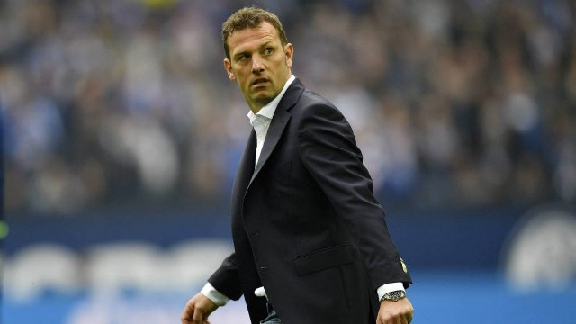 In-this-April-1,-2017-file-photo-Schalke's-head-coach-Markus-Weinzierl-looks-back-after-the-German-Bundesliga-soccer-match-between-FC-Schalke-04-and-Borussia-Dortmund-in-Gelsenkirchen,-Germany.-Weinzierl-was-sent-off-the-field-of-play.-(Martin-Meissner,-file/AP)