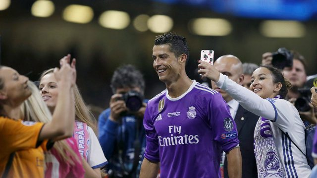 Real-Madrid's-Cristiano-Ronaldo-smiles-at-the-end-of-the-Champions-League-final-soccer-match-between-Juventus-and-Real-Madrid-at-the-Millennium-Stadium-in-Cardiff,-Wales,-Saturday-June-3,-2017.-(Tim-Ireland/AP)