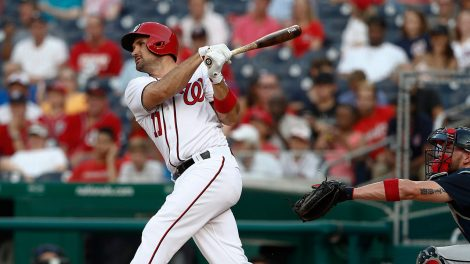Washington-Nationals'-Ryan-Zimmerman-(11)-watches-his-solo-home-run-during-the-first-inning-of-the-team's-baseball-game-against-the-Atlanta-Braves-at-Nationals-Park,-Tuesday,-June-13,-2017,-in-Washington.-(Carolyn-Kaster/AP)