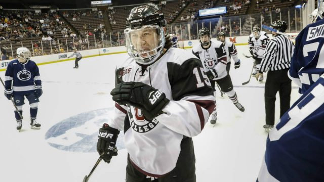 Union's-Spencer-Foo-(15)-celebrates-his-goal-during-the-first-period-in-the-regional-semifinals-of-the-NCAA-college-hockey-tournament-against-Penn-State,-Saturday,-March-25,-2017,-in-Cincinnati.-(John-Minchillo/AP)