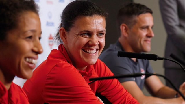Canada-soccer-players-Desiree-Scott,-Christine-Sinclair.-(John-Woods/CP)