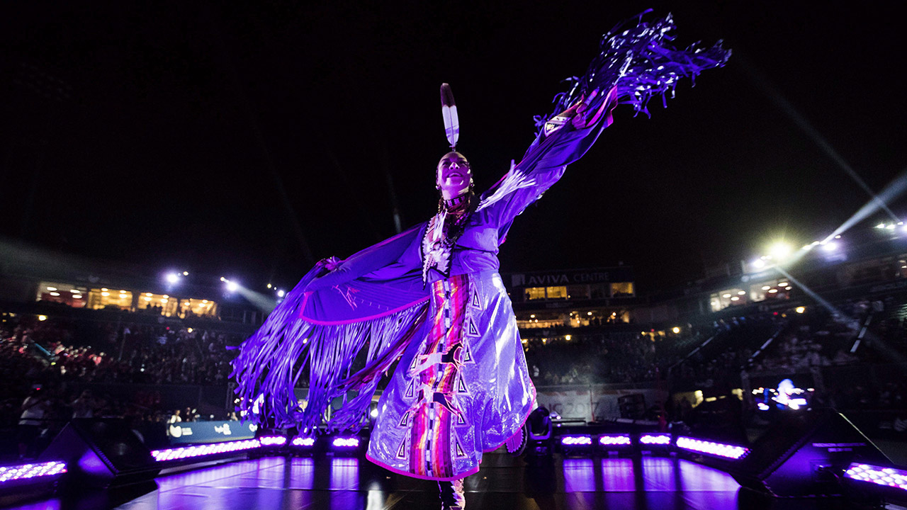 A-dancer-performs-during-the-opening-ceremony-of-the-2017-North-American-Indigenous-Games.-(Mark-Blinch/CP)