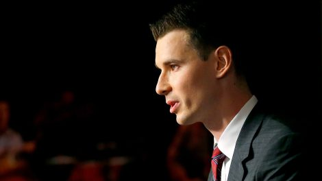 Newly-appointed-Arizona-Coyotes-general-manager-John-Chayka-speaks-at-a-news-conference-announcing-his-promotion,-Thursday,-May-5,-2016,-in-Glendale,-Ariz.-Chayka-is-the-youngest-GM-in-NHL-history.-(Matt-York/AP)