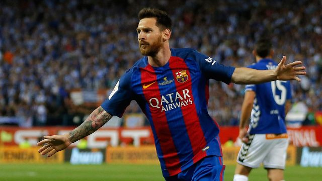 In-this-Saturday-May-27,-2017-file-photo,-Barcelona's-Lionel-Messi-celebrates-after-scoring-a-goal-during-the-Copa-del-Rey-final-soccer-match-between-Barcelona-and-Alaves-at-the-Vicente-Calderon-stadium-in-Madrid,-Spain.-Barcelona-said-Wednesday-July-5,-2017,-Argentina-forward-Lionel-Messi-has-agreed-to-extend-his-contract-that-will-tie-him-to-the-Spanish-club-through-June-30,-2021.-(Daniel-Ochoa-de-Olza/AP)