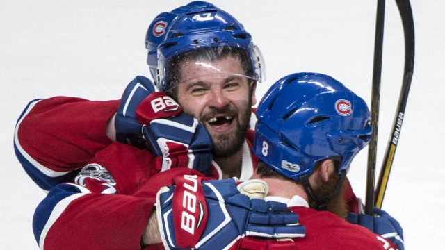 Montreal-Canadiens'-Alexander-Radulov,-left,-celebrates-his-winning-goal-against-the-New-York-Rangers-with-teammate-Jordie-Benn-during-overtime-in-Game-2-NHL-Stanley-Cup-first-round-playoff-hockey-game-action-Friday,-April-14,-2017,-in-Montreal.-(Paul-Chiasson/The-Canadian-Press-via-AP)