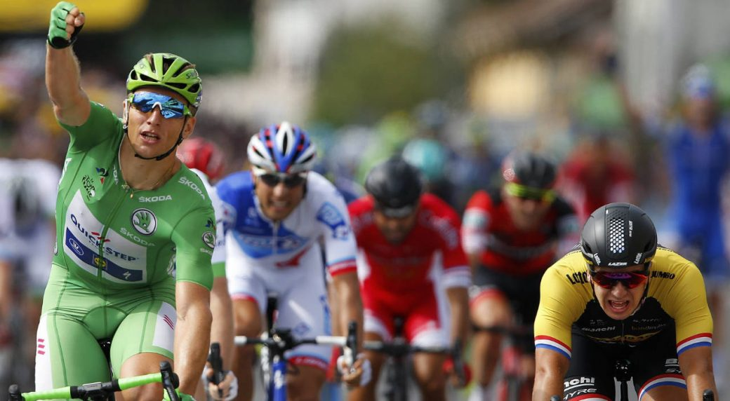 Germany's-Marcel-Kittel,-wearing-the-best-sprinter's-green-jersey,-crosses-the-finish-line-ahead-of-Netherlands'-Dylan-Groenewegen,-right,-to-win-the-eleventh-stage-of-the-Tour-de-France-cycling-race-over-203.5-kilometers-(126.5-miles)-with-start-in-Eymet-and-finish-in-Pau,-France,-Wednesday,-July-12,-2017.-(Peter-Dejong/AP)