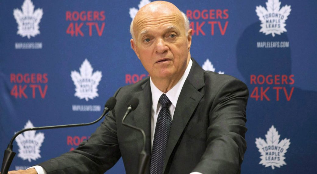 Lou-Lamoriello,-general-manager-of-the-Toronto-Maple-Leafs,-attends-a-press-conference-in-Toronto,-on-Thursday-September-22,-2016.-Lamoriello-likes-to-say-that-when-it-comes-to-managing-an-NHL-team-there's-a-five-year-plan-which-changes-daily.-(Chris-Young/CP)