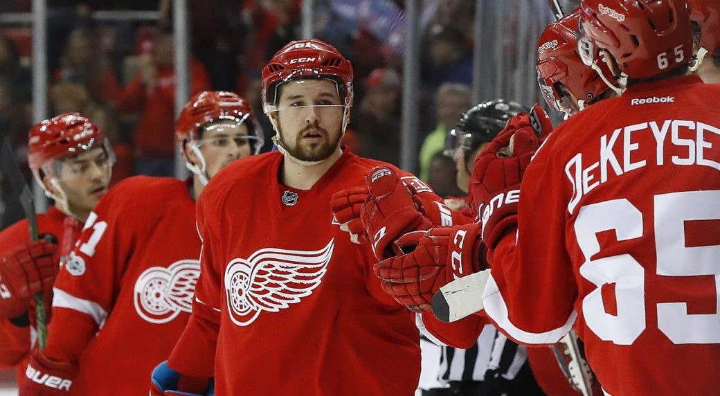 Detroit-Red-Wings-defenceman-Xavier-Ouellet-(61)-celebrates-his-goal-against-the-Chicago-Blackhawks-in-the-first-period-of-an-NHL-hockey-game-Friday,-March-10,-2017,-in-Detroit.-(Paul-Sancya/AP)