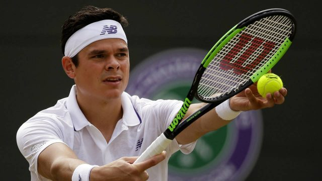 Canada's-Milos-Raonic-prepares-to-serve-to-Spain's-Albert-Ramos-Vinolas-during-their-Men's-singles-match-on-day-six-at-the-Wimbledon-Tennis-Championships-in-London-Saturday,-July-8,-2017.-(Alastair-Grant/AP)