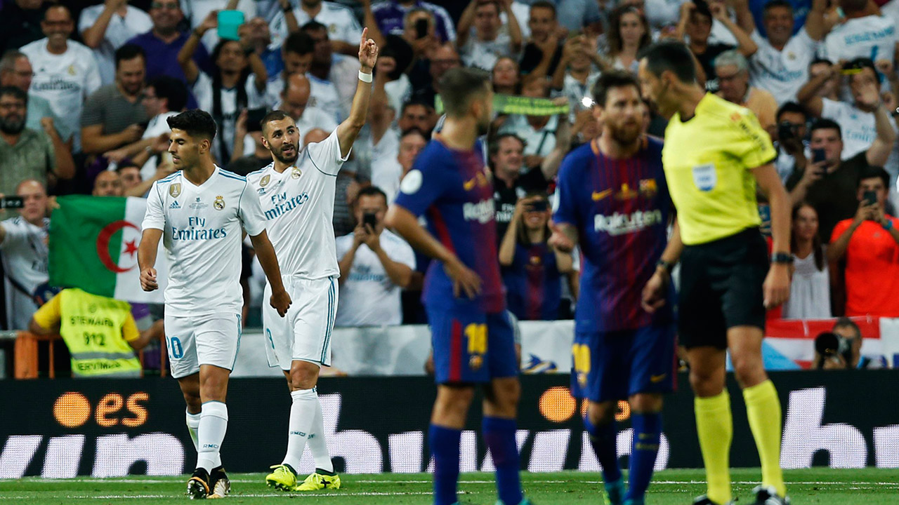Real-Madrid's-Karim-Benzema-celebrates-after-scoring-his-side's-second-goal.-(Francisco-Seco/AP)
