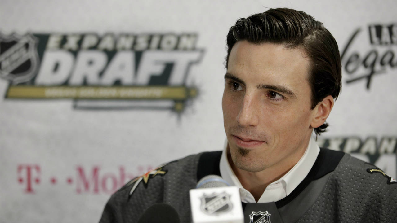 Vegas-Golden-Knights'-Marc-Andre-Fleury-speaks-with-the-media-Wednesday,-June-21,-2017,-in-Las-Vegas.-Fleury-was-picked-by-the-team-in-the-NHL-hockey-expansion-draft.-(John-Locher/AP)