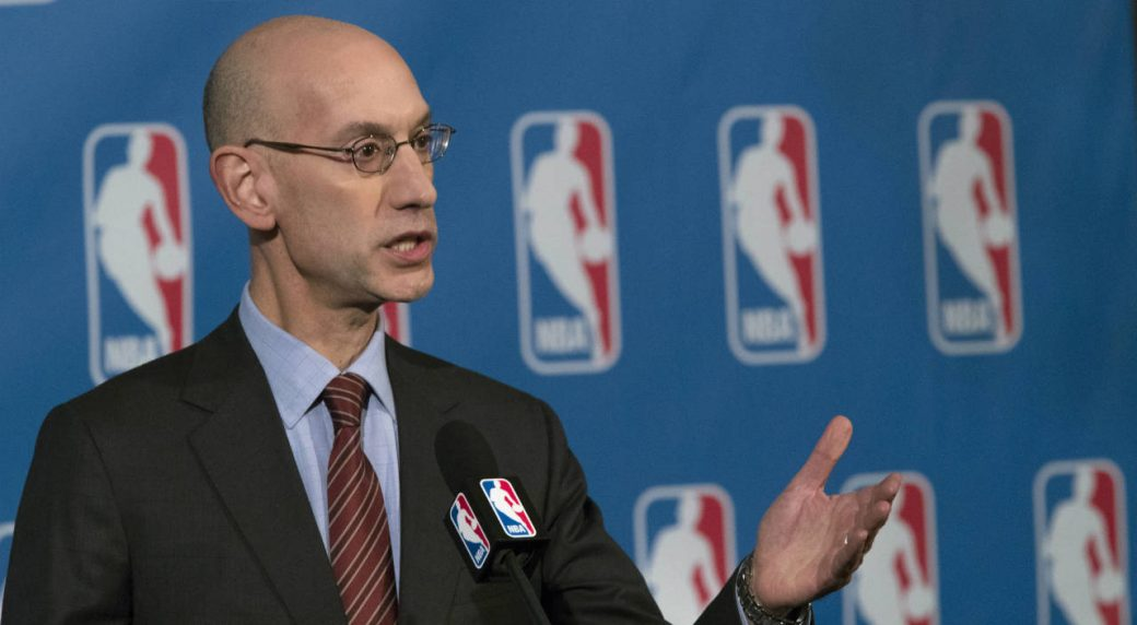 """In-this-Oct.-21,-2016,-file-photo,-NBA-Commissioner-Adam-Silver-speaks-to-reporters-during-a-news-conference,-in-New-York.-An-NBA-delegation,-led-by-Silver,-is-in-Israel-as-part-of-""""Basketball-Without-Borders,""""-a-program-that-hosts-training-camps-for-top-teenage-players-throughout-the-world.-(Mary-Altaffer,-File/AP)"""