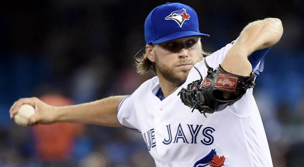 Toronto-Blue-Jays-starting-pitcher-Chris-Rowley-(45)-works-during-first-inning-AL-MLB-baseball-action-against-the-Tampa-Bay-Rays,-in-Toronto-on-Wednesday,-August-16,-2017.-(Nathan-Denette/CP)
