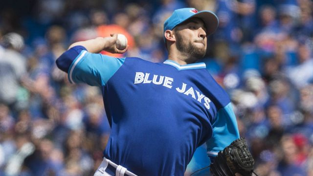Toronto-Blue-Jays-starting-pitcher-Marco-Estrada-works-against-Minnesota-Twins-during-first-inning-American-League-MLB-baseball-action-in-Toronto-on-Saturday,-August-26-2017.-(Chris-Young/CP)