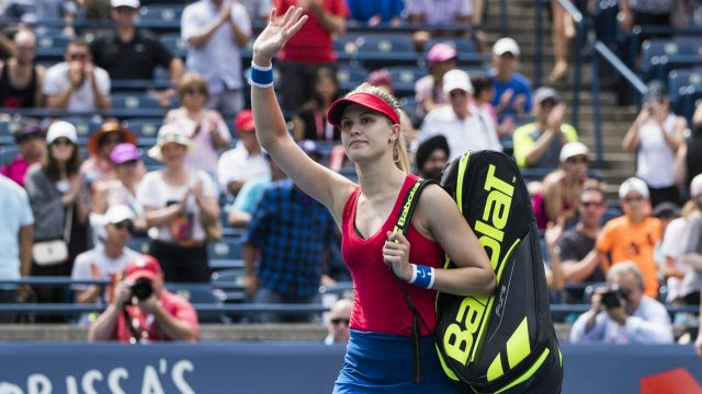 Eugenie-Bouchard-of-Canada-leaves-the-court-after-being-defeated-by-Donna-Vekic-of-Croatia-during-their-first-round-match-at-the-Rogers-Cup-women's-tennis-tournament-in-Toronto,-Tuesday,-August-8,-2017.-(Mark-Blinch/CP)