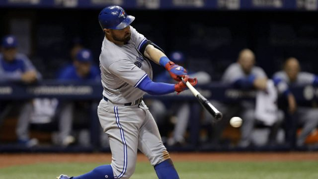 Toronto-Blue-Jays'-Kevin-Pillar-connects-for-an-RBI-double-off-Tampa-Bay-Rays-relief-pitcher-Jumbo-Diaz-during-the-eighth-inning-of-a-baseball-game-Friday,-May-5,-2017,-in-St.-Petersburg,-Fla.-Blue-Jays'-Devon-Travis-scored.-(Chris-O'Meara/AP)