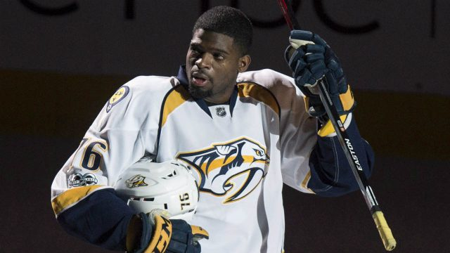 Nashville-Predators'-P.K.-Subban-salutes-the-crowd-as-he-is-introduced-prior-to-facing-the-Montreal-Canadiens-in-NHL-hockey-action,-in-Montreal-on-Thursday,-March-2,-2017.-(Paul-Chiasson/CP)