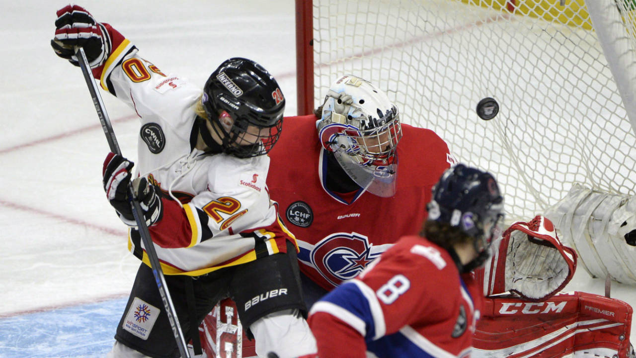 Calgary-Inferno's-Jessica-Campbell-(20)-watches-her-shot-go-in-the-net-past-Les-Canadiennes-de-Montreal-goalie-Charline-Labonte-(32)-during-the-third-period-of-Canadian-Women's-Hockey-League-final-action-at-the-Clarkson-Cup,-Sunday-March-13,-2016,-in-Ottawa.-(Justin-Tang/CP)