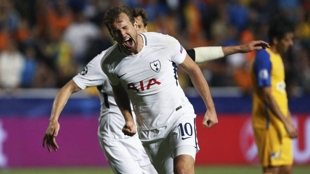 Tottenham's-Harry-Kane-celebrate-his-second-goal-against-APOEL-during-the-Champions-League-Group-H-soccer-match-between-APOEL-Nicosia-and-Tottenham-Hotspur-at-GSP-stadium,-in-Nicosia,-Cyprus,-on-Tuesday,-Sept.-26,-2017.-(Petros-Karadjias/AP)