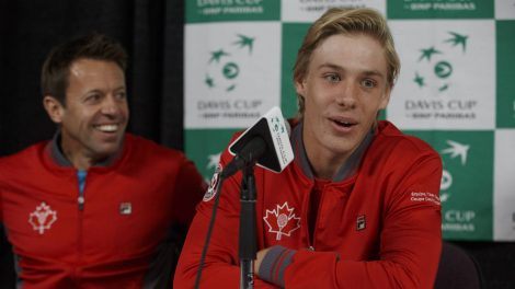 Canada's-Daniel-Nestor-has-a-laugh-as-teammate-Denis-Shapovalov-speaks-during-a-Davis-Cup-press-conference-in-Edmonton,-Alta.,-on-Tuesday-September-12,-2017.-(Jason-Franson/CP)
