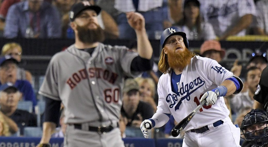 quality design 32447 41f0f Turner, Kershaw lead Dodgers over Astros in Game 1 of World ...