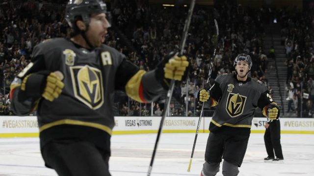 Vegas-Golden-Knights-defenceman-Brayden-McNabb,-right,-celebrates-after-teammate-left-wing-James-Neal,-left,-scored-during-the-first-period-of-an-NHL-hockey-game-Tuesday,-Oct.-10,-2017,-in-Las-Vegas.-(John-Locher/AP)