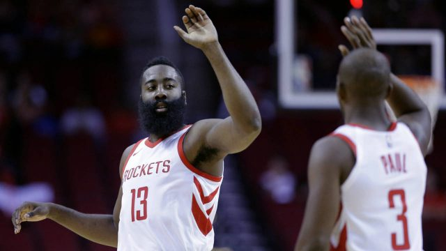 Houston-Rockets-guard-James-Harden-(13)-and-Chris-Paul-(3-)high-five-in-the-first-half-of-an-NBA-exhibition-basketball-game-against-the-Shanghai-Sharks-Thursday,-Oct.-5,-2017,-in-Houston.-(Michael-Wyke/AP)