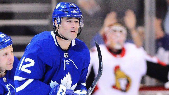 Toronto-Maple-Leafs-centre-Patrick-Marleau-(12)-celebrates-his-goal-against-the-Ottawa-Senators-during-first-period-NHL-pre-season-action-in-Toronto-on-Tuesday,-September-19,-2017.-(Frank-Gunn/CP)