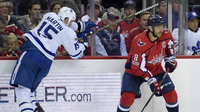 Washington-Capitals-left-wing-Alex-Ovechkin-(8),-of-Russia,-skates-with-the-puck-against-Toronto-Maple-Leafs-left-wing-Matt-Martin-(15)-during-the-second-period-of-a-NHL-hockey-game,-Tuesday,-Oct.-17,-2017,-in-Washington.-(Nick-Wass/AP)