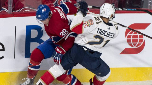 Montreal-Canadiens-left-wing-Nikita-Scherbak-(38)-tries-to-break-away-from-Florida-Panthers-centre-Vincent-Trocheck-(21)-during-first-period-NHL-pre-season-hockey-action-Friday,-September-29,-2017-in-Montreal.-(Paul-Chiasson/CP)