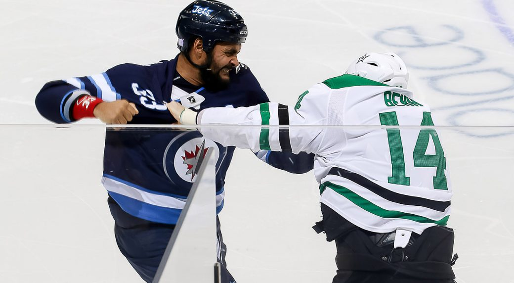 Dustin-Byfuglien;-Jamie-Benn;-NHL-fight;-Winnipeg-Jets;-Dallas-Stars
