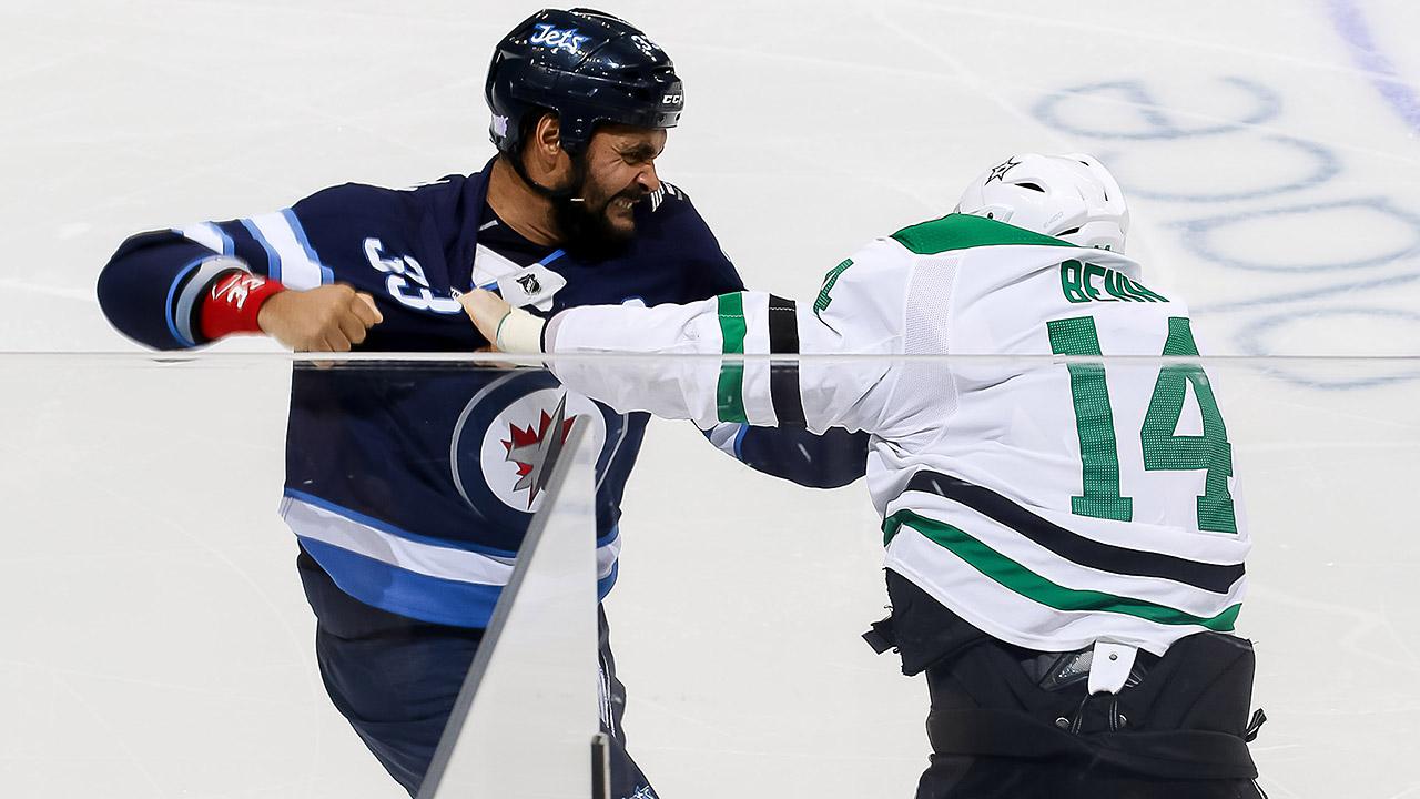 Dustin-Byfuglien;-Jamie-Benn;-NHL-fight;-Winnipeg-Jets;-Dallas-Stars