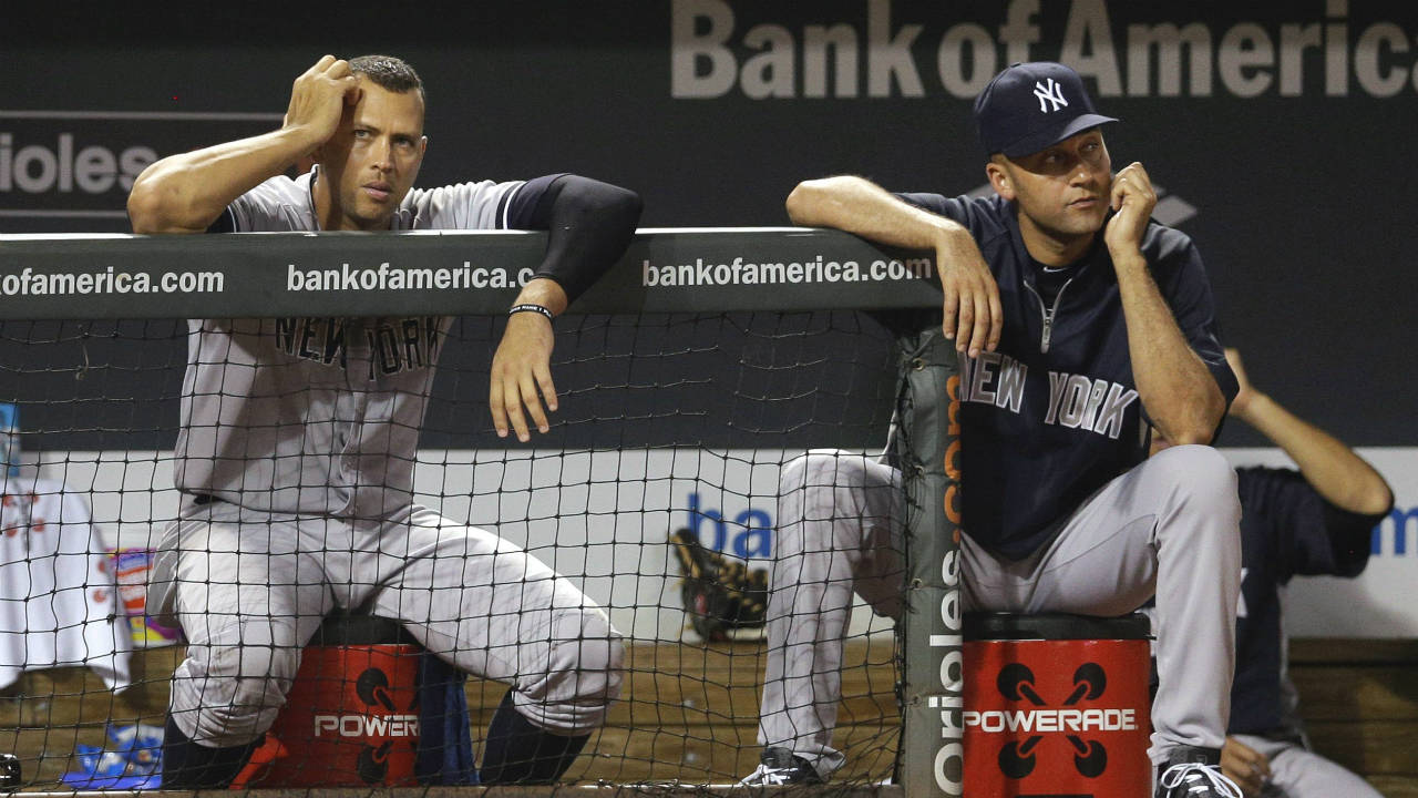 New-York-Yankees'-Alex-Rodriguez,-left,-and-Derek-Jeter-watch-from-the-dugout-during-a-baseball-game-against-the-Baltimore-Orioles,-Wednesday,-Sept.-11,-2013,-in-Baltimore.-(Patrick-Semansky/AP)