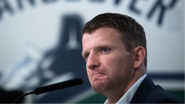 Vancouver-Canucks'-forward-Derek-Dorsett,-who-had-to-retire-from-playing-hockey-recently-due-to-medical-reasons,-pauses-while-speaking-during-a-news-conference-in-Vancouver,-B.C.,-on-Wednesday-December-6,-2017.-(Darryl-Dyck/CP)