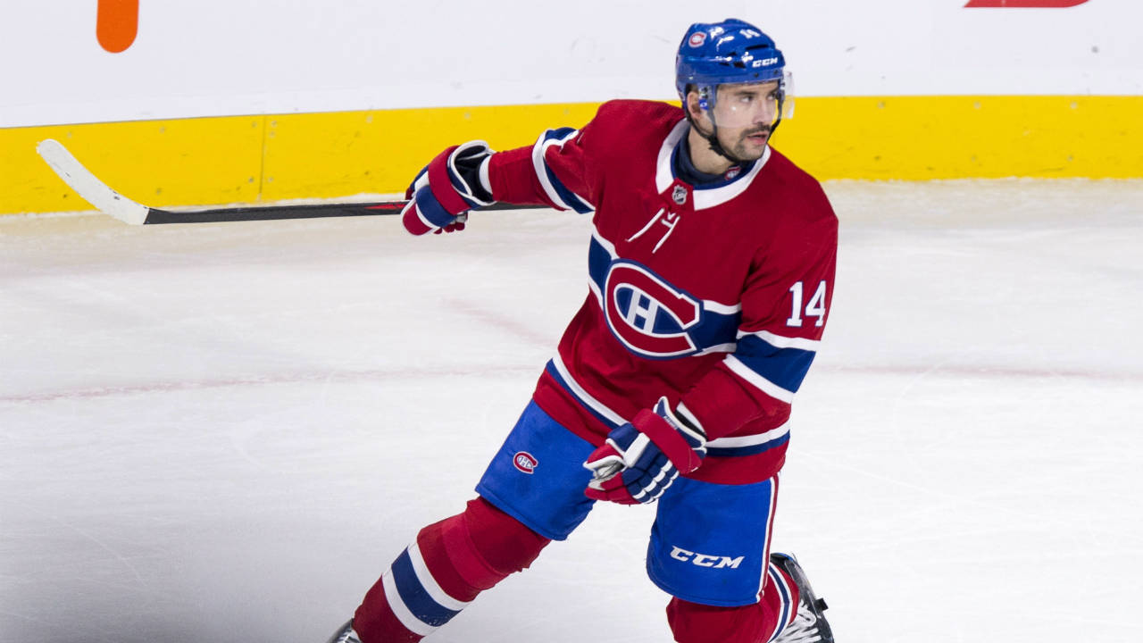 Montreal-Canadiens'-Tomas-Plekanec-celebrates-after-scoring-the-winning-goal-to-defeat-the-New-Jersey-Devils-in-overtime-during-NHL-hockey-action-Thursday,-December-14,-2017-in-Montreal.-(Paul-Chiasson/CP)