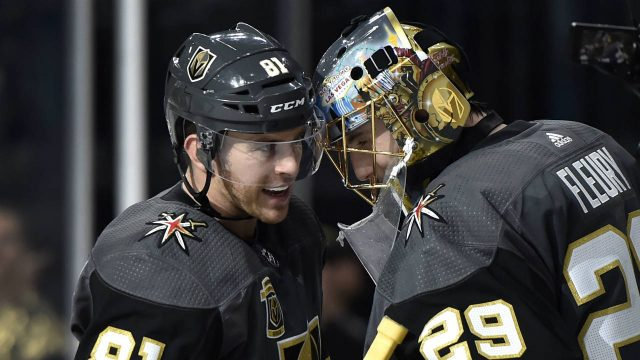 Vegas-Golden-Knights-centre-Jonathan-Marchessault-(81)-congratulates-goalie-Marc-Andre-Fleury-after-an-NHL-hockey-game-against-the-Nashville-Predators-on-Tuesday,-Jan.-2,-2018,-in-Las-Vegas.-The-Golden-Knights-won-3-0.-(David-Becker/AP)