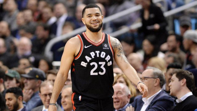 Toronto-Raptors-guard-Fred-VanVleet-(23)-reacts-during-a-break-in-play-during-second-half-NBA-basketball-action-against-the-Cleveland-Cavaliers-in-Toronto-on-Thursday,-January-11,-2018.-(Frank-Gunn/CP)