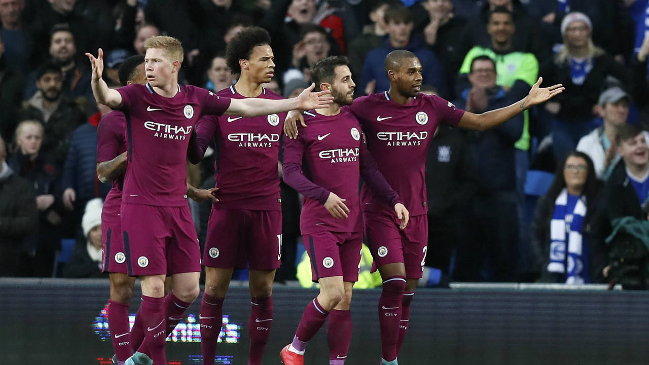Manchester-City-players-react-after-a-goal-by-Bernardo-Silva,-2nd-right,-was-disallowed-during-the-English-FA-Cup-fourth-round-soccer-match-between-Cardiff-City-and-Manchester-City-at-Cardiff-City-stadium-in-Cardiff,-Wales,-Sunday,-Jan.-28,-2018.-(Kirsty-Wigglesworth/AP)