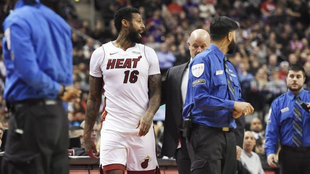 Miami-Heat-forward-James-Johnson-(16)-is-ejected-from-the-game-along-with-Toronto-Raptors-forward-Serge-Ibaka-(not-shown)-during-second-half-NBA-basketball-action-in-Toronto-on-Tuesday,-January-9,-2018.-(Nathan-Denette/CP)
