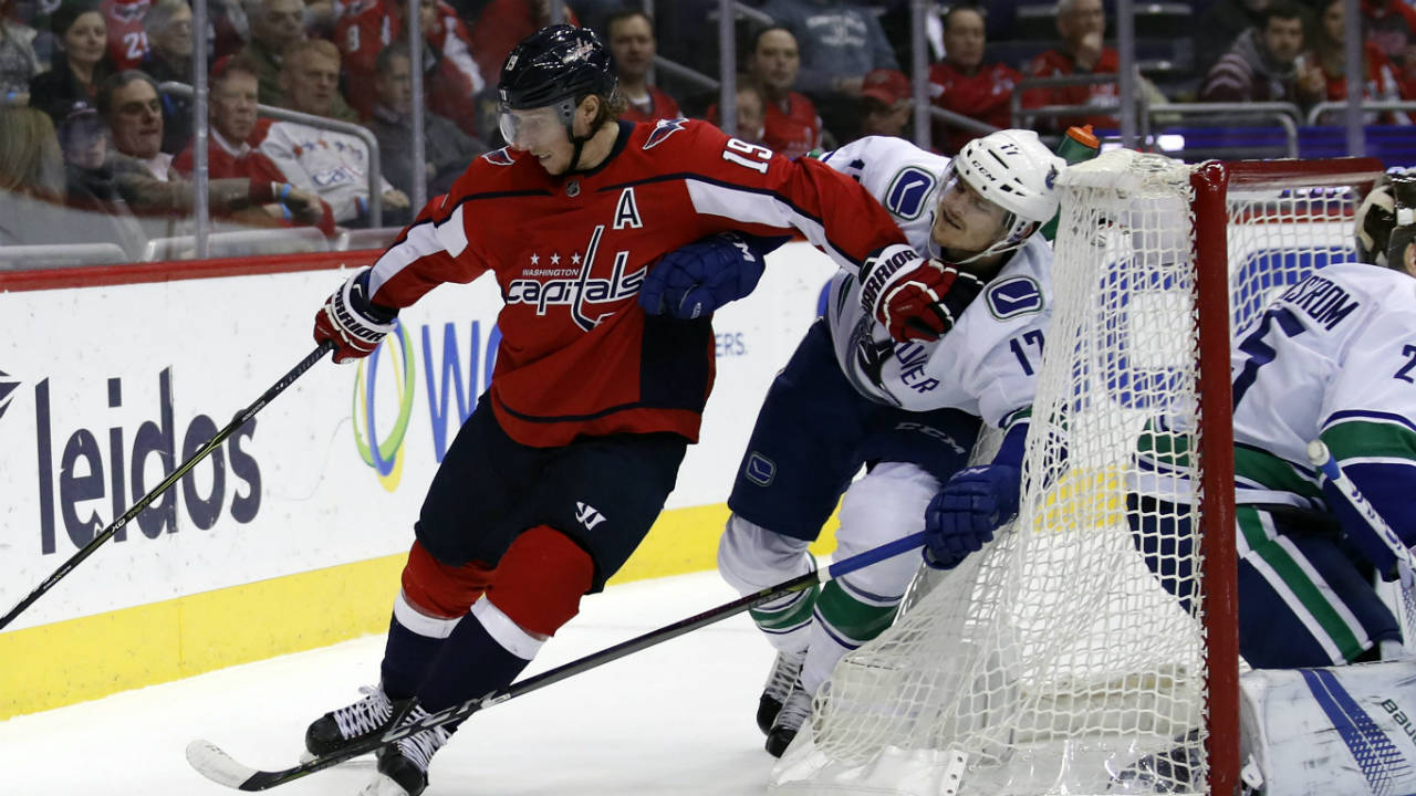 Washington-Capitals-centre-Nicklas-Backstrom-(19),-from-Sweden,-skates-withe-the-puck-as-Vancouver-Canucks-center-Nic-Dowd-(17)-defends-during-the-first-period-of-an-NHL-hockey-game-Tuesday,-Jan.-9,-2018,-in-Washington.-(Alex-Brandon/AP)