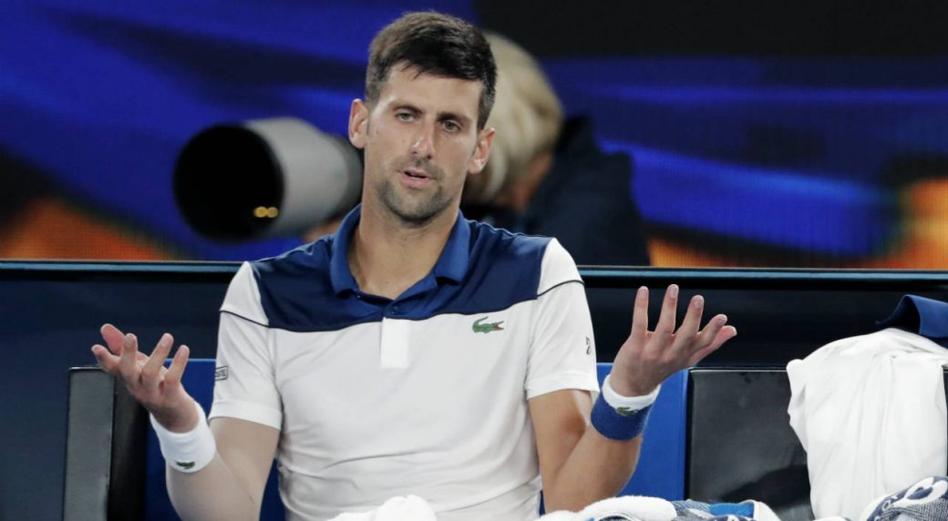 Serbia's-Novak-Djokovic-gestures-as-he-takes-a-break-during-his-fourth-round-match-against-South-Korea's-Chung-Hyeon-at-the-Australian-Open-tennis-championships-in-Melbourne,-Australia,-Monday,-Jan.-22,-2018.-(Vincent-Thian/AP)
