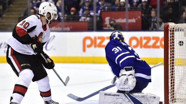Ottawa-Senators-left-wing-Tom-Pyatt-(10)-scores-against-Toronto-Maple-Leafs-goaltender-Frederik-Andersen-(31)-during-third-period-NHL-hockey-action-in-Toronto-on-Wednesday,-January-10,-2018.-(Frank-Gunn/CP)