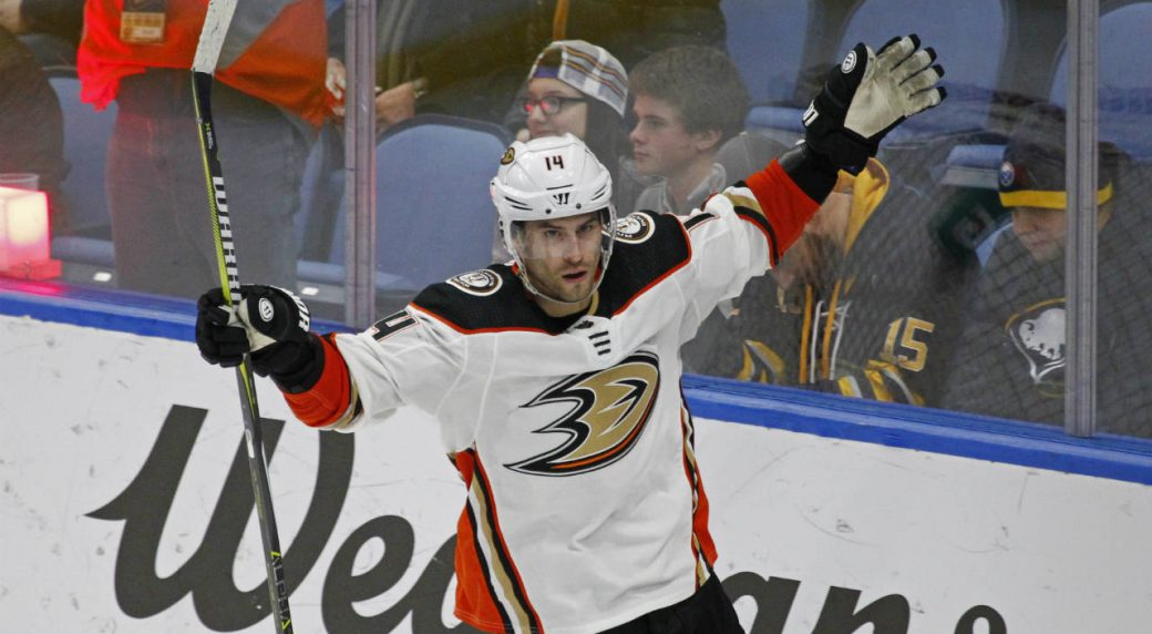 Anaheim-Ducks-forward-Adam-Henrique-(14)-celebrates-his-game-winning-goal-during-the-overtime-period-of-an-NHL-hockey-game-against-the-Buffalo-Sabres,-Tuesday,-Feb.-6,-2018,-in-Buffalo,-N.Y.-(Jeffrey-T.-Barnes/AP)