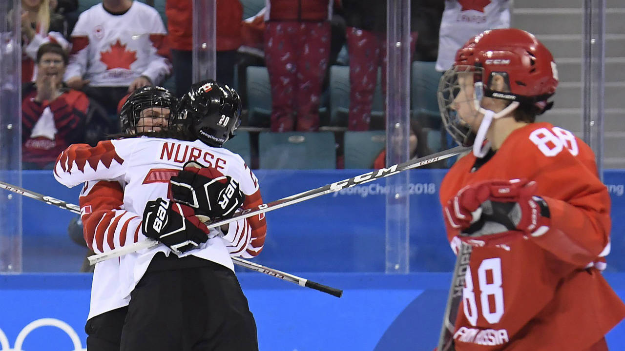 Canada-forward-Emily-Clark,-left,-celebrates-her-goal-with-teammate-Canada-forward-Sarah-Nurse-(20)-against-Olympic-Athletes-from-Russia-in-women's-third-period-hockey-action-at-the-2018-Olympic-Winter-Games-in-Pyeongchang,-South-Korea,-on-Monday,-February-19,-2018.-(Nathan-Denette/CP)